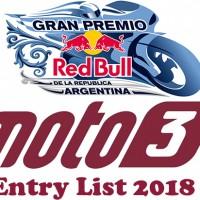 Gran Premio of Argentina Moto3 Entry list 2018