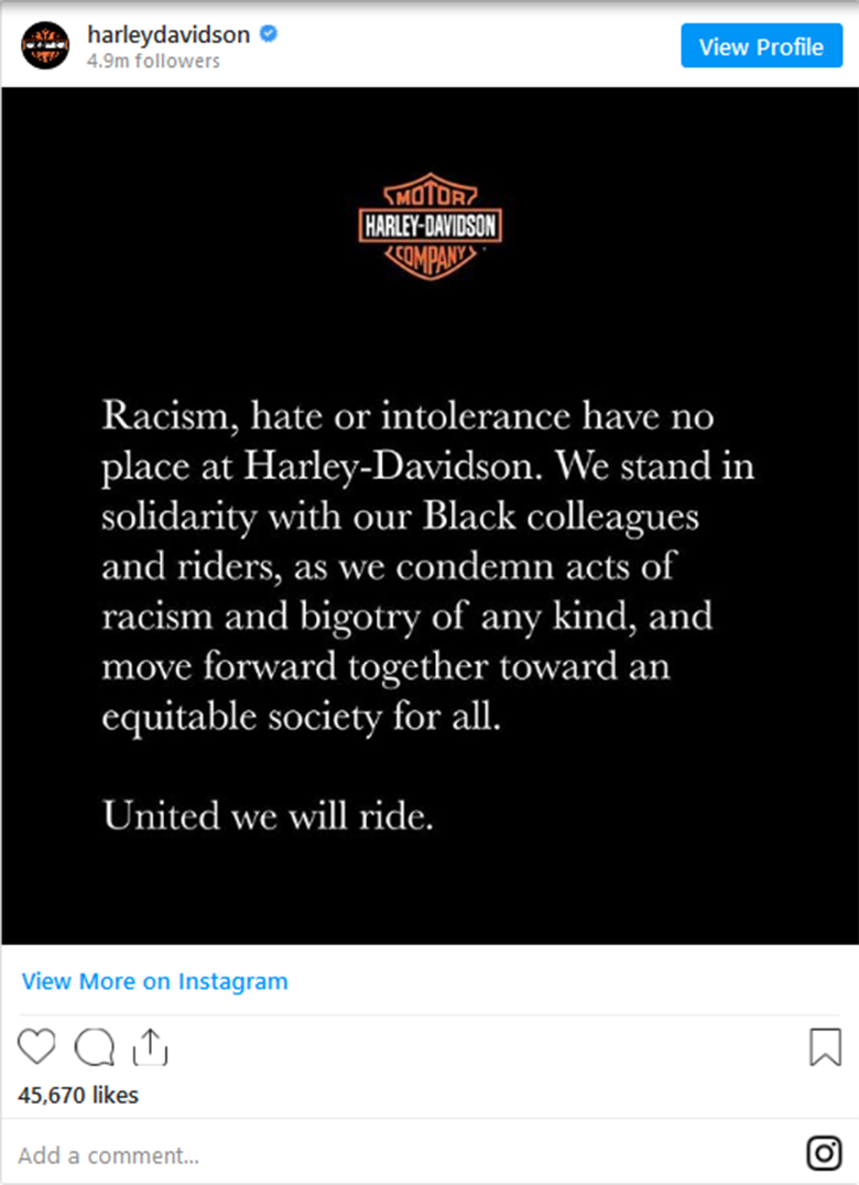 Harley-Davidson stands with George Floyd